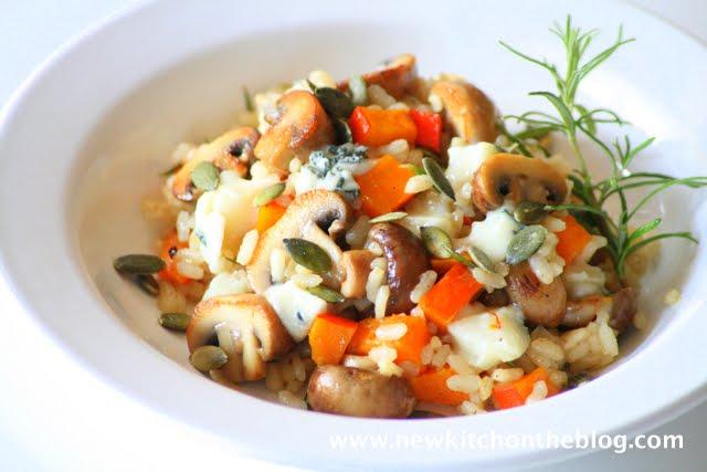 Risotto mit Kürbis Pilzen und Gorgonzola