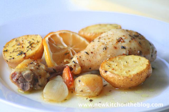 Zitronenhuhn mit Schalotten und Kartoffeln