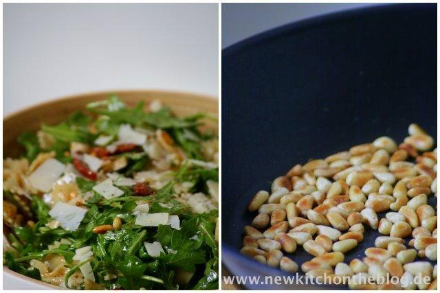 Zutaten für italienischen Nudelsalat: Pinienkerne
