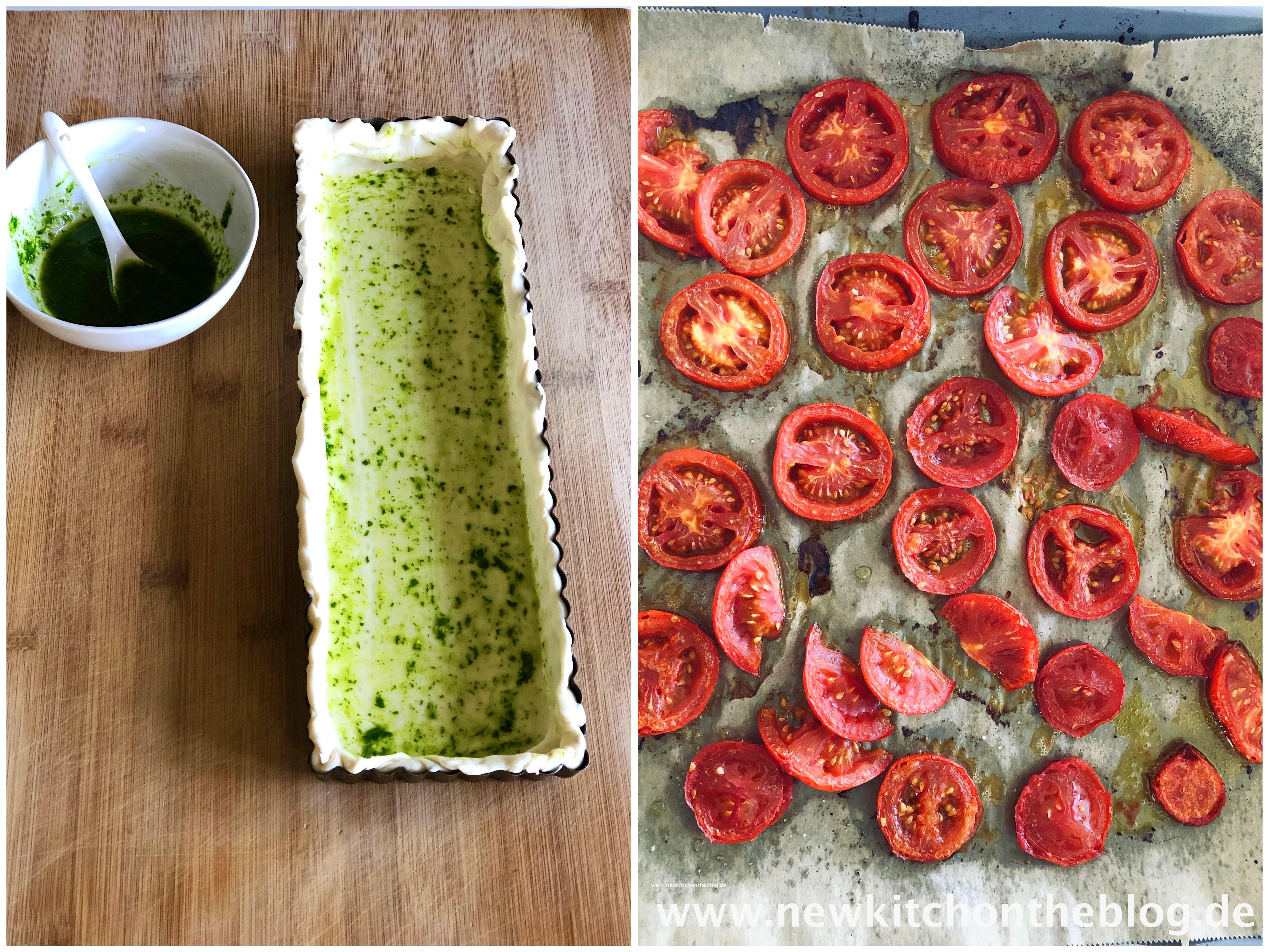 Caprese-Tarte mit Basilikumöl und gerösteten Tomaten
