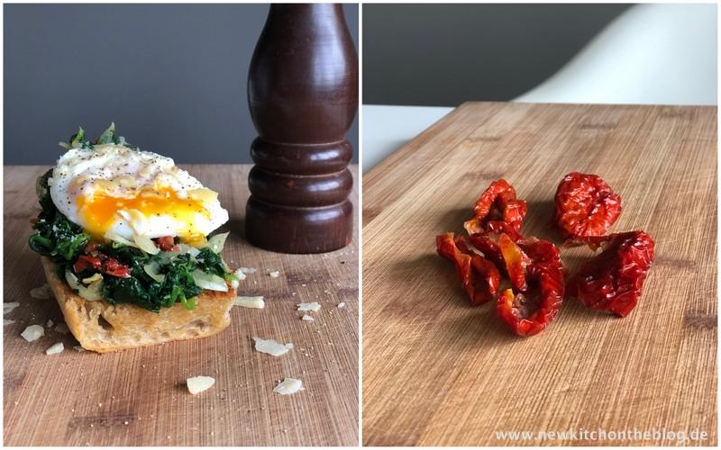 Geröstetes Brot mit pochiertem Ei und Spinat