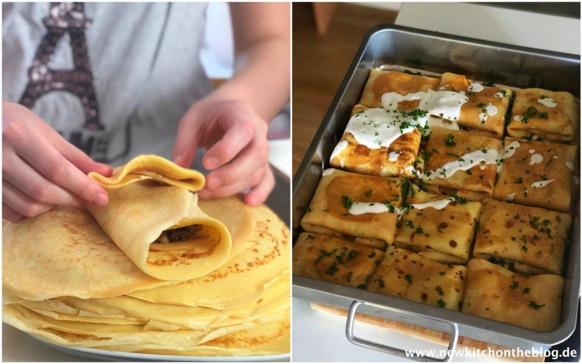 Ungarische Pfannkuchen mit Hackfleischfüllung